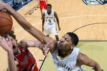 Anthony Davis blocks Portland's Robin Lopez during a December game