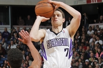 Jimmer Fredette fires a jumper vs. New Orleans during a game last season in Sacramento