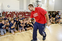 Teammates Ryan Anderson, Anthony Davis, Jrue Holiday, Jeff Withey and Greg Stiemsma helped kickoff this season's Pelicans Junior Training Camp program with the kids at Christian Brothers in New Orleans.