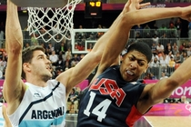 Anthony Davis grabs a rebound during the 2012 Olympics