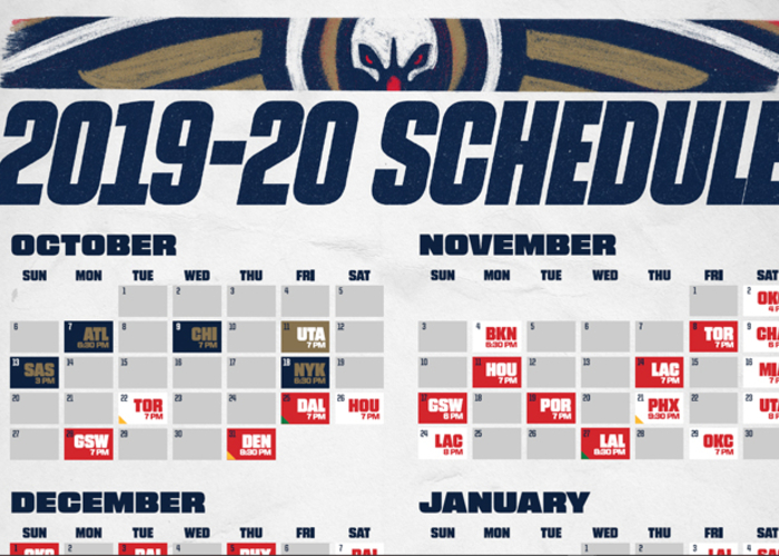 graphic relating to Printable Pacers Schedule named Obtain a Printable Pelicans 2019-20 Program Contemporary Orleans
