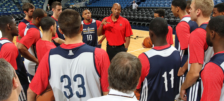 Pelicans head coach Monty Williams addresses the team