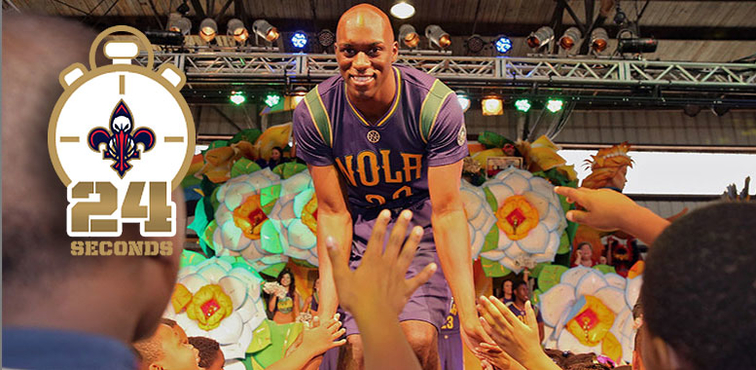 Quincy Pondexter greets fans during the Mardi Gras uniform unveiling in September