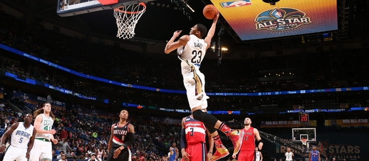Pelicans power forward Anthony Davis soars for a dunk during 2014 All-Star weekend