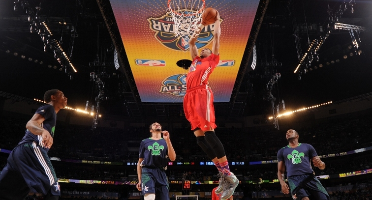 Anthony Davis throws down a two-handed dunk during the 2014 NBA All-Star Game in New Orleans