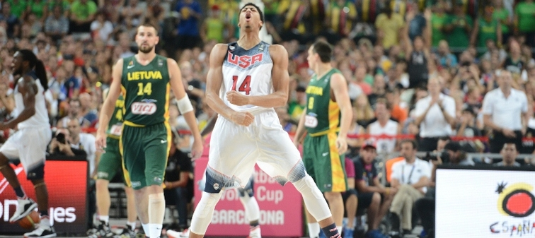 An excited Anthony Davis celebrates during a FIBA World Cup semifinal win over Lithuania