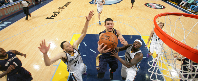 Austin Rivers scoops up a layup at Memphis last season