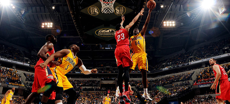 Solomon Hill powers up for a layup attempt against New Orleans defender Anthony Davis