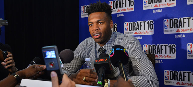 Oklahoma guard Buddy Hield speaks with the media Wednesday in New York