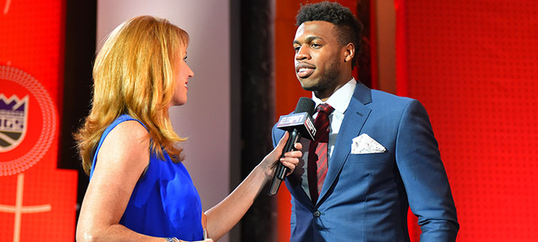 Buddy Hield meets with ESPN's Heather Cox