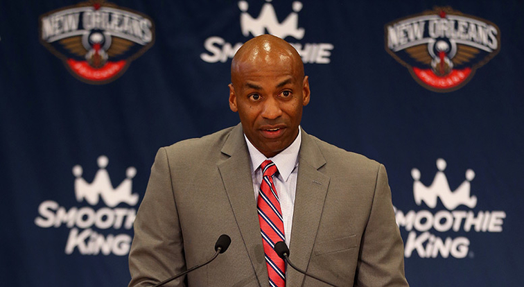 Dell Demps at a press conference