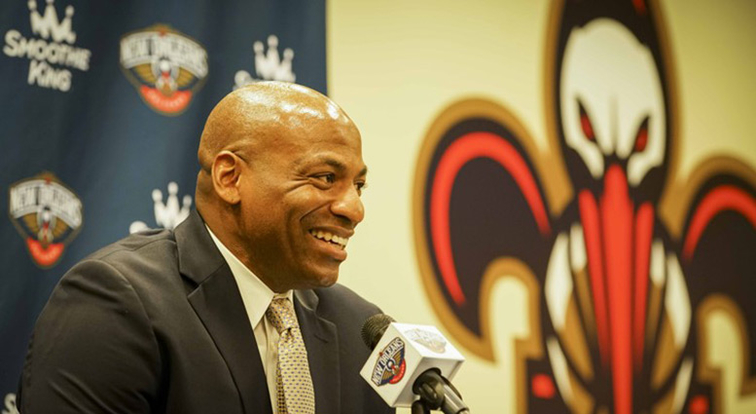 Dell Demps smiles during Thursday's press conference