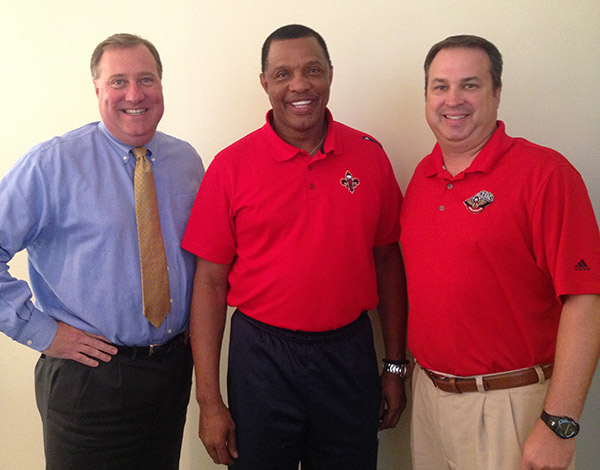 Team President Dennis Lauscha, Head Coach Alvin Gentry and Radio Play-by-Play Announcer Sean Kelley
