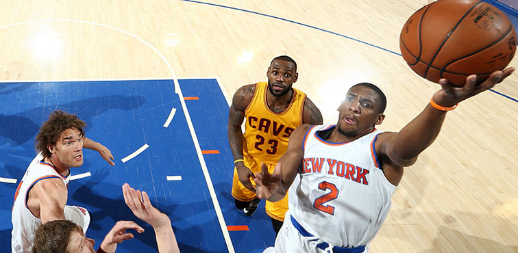 Then with New York, guard Langston Galloway takes a left-handed layup vs. Cleveland last season