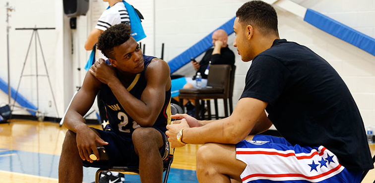 Rookies Buddy Hield (left) and Ben Simmons converse during a recent NBA event for first-year pros
