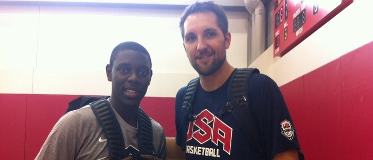 Pelicans players Jrue Holiday (left) and Ryan Anderson during the 2013 USA Basketball minicamp
