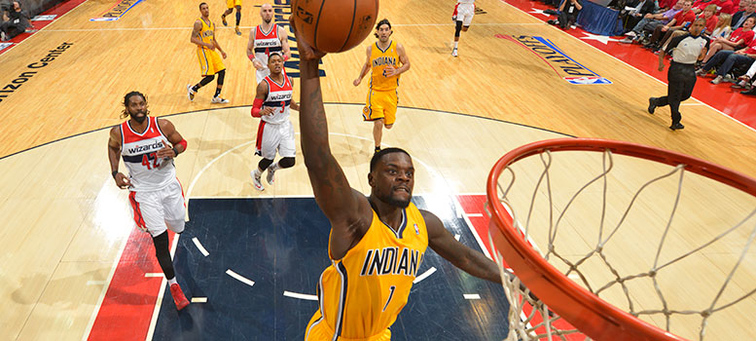 Lance Stephenson throws down a breakaway dunk in the 2014 playoffs at Washington