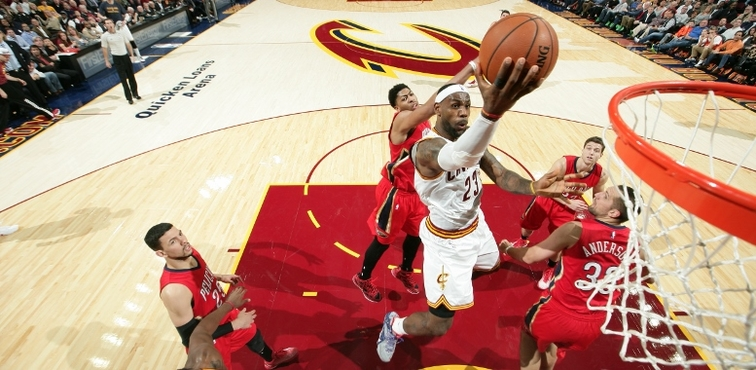 LeBron James plays against the Pelicans