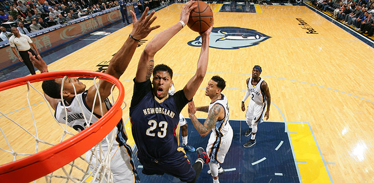 Anthony Davis soars through the lane at Memphis in March