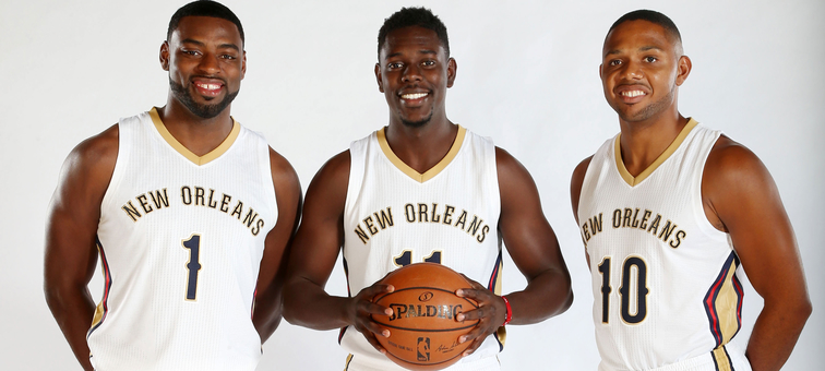 Tyreke Evans, Jrue Holiday and Eric Gordon smile at 2014 Media Day for the Pelicans