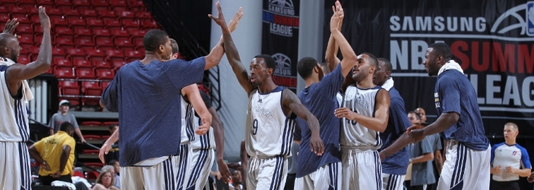 Pelicans players celebrate after pulling off a huge fourth-quarter comeback Friday vs. the D-League