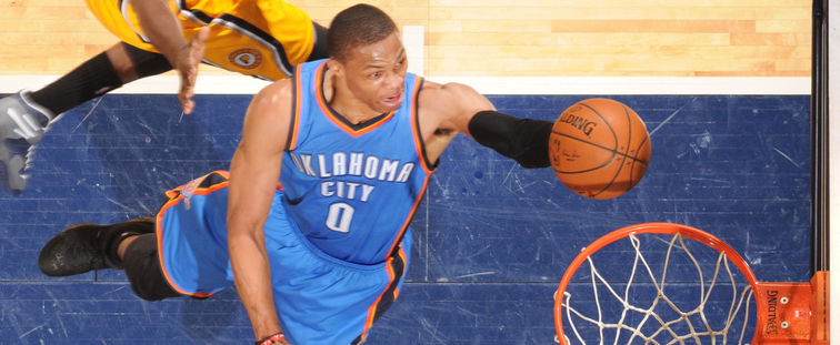 OKC's Russell Westbrook drives for a layup at Indiana