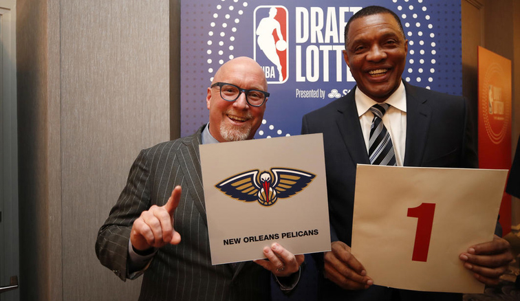 David Griffin and Alvin Gentry smile after New Orleans won Tuesday's draft lottery