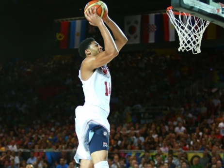 Anthony Davis glides in for a two-handed fast-break dunk vs. New Zealand