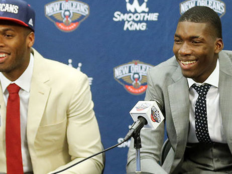 Buddy Hield (left) and Cheick Diallo conduct their introductory press conference
