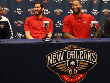 (left to right) Alvin Gentry, Omri Casspi, DeMarcus Cousins and Dell Demps share a laugh