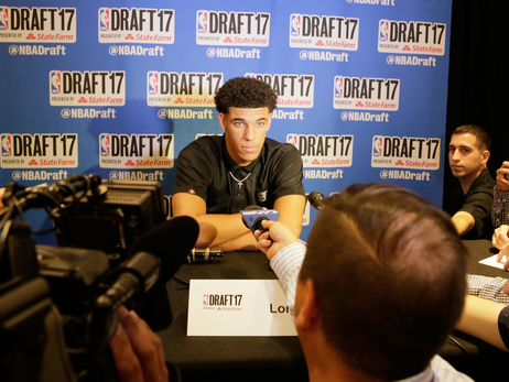 Point guard Lonzo Ball meets with reporters in New York City