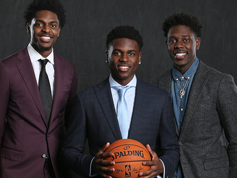Three NBA brothers Justin Holiday (left), projected 2018 draftee Aaron Holiday (middle) and New Orleans guard Jrue Holiday pose for a photo