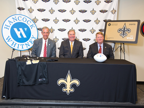 Hancock Whitney Renews Partnership  as the Official Bank of the New Orleans Saints and Pelicans