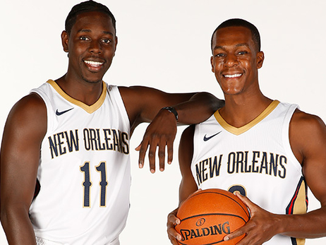 Jrue Holiday (left) and Rajon Rondo on Media Day