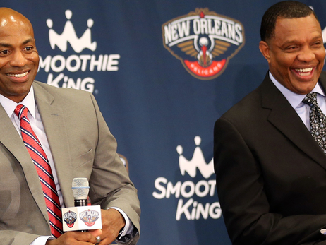 Pelicans GM Dell Demps (left) and new head coach Alvin Gentry