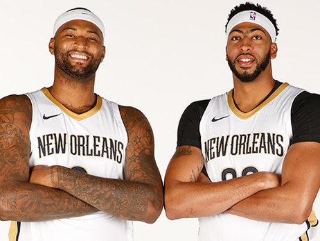 DeMarcus Cousins (left) and Anthony Davis pose on Media Day