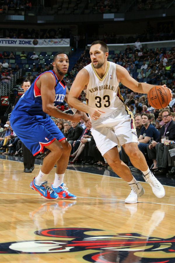Ryan Anderson drives towards the basket