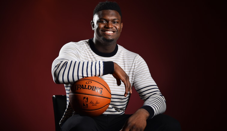 Zion Williamson poses for a photo Wednesday in New York City