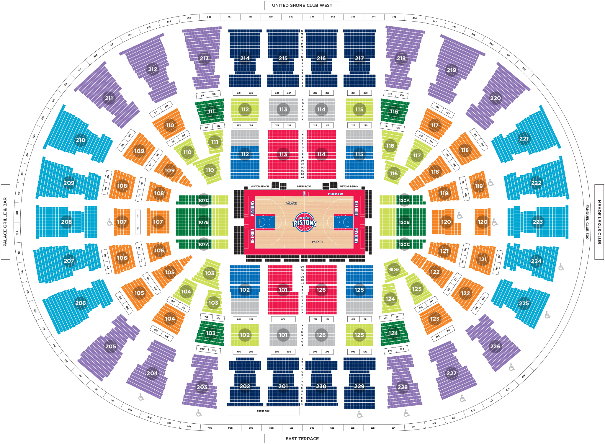 Pistons Seating Chart 14 Detroit Pistons Seating Chart