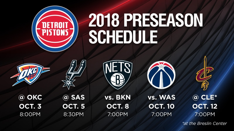 image relating to Detroit Pistons Printable Schedule referred to as Detroit Pistons Announce 2018 Preseason Routine Detroit