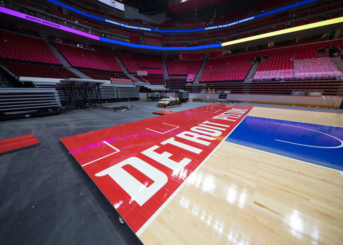best service 87a70 add21 The Detroit Pistons hardwood is constructed at Little Caesars Arena.(Rob  Kohn)