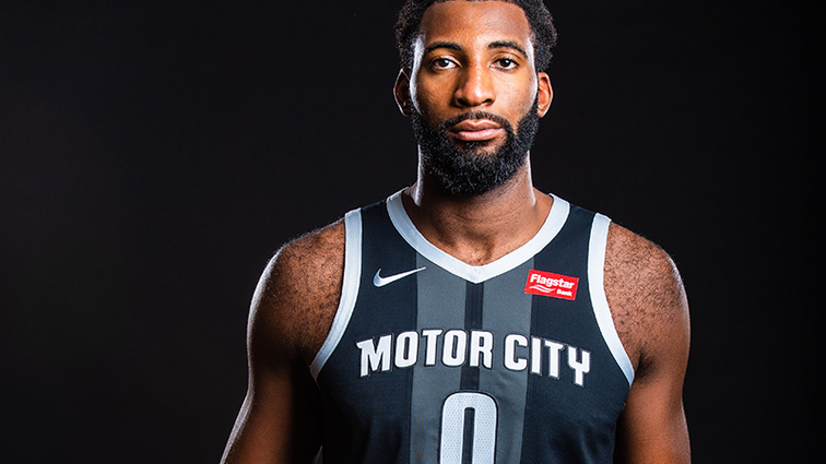 Pistons Center Andre Drummond wears the new Pistons City Edition Uniform 5af2d17e7