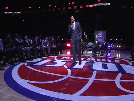 Rip to the rafters: Pistons honor Hamilton by retiring No. 32