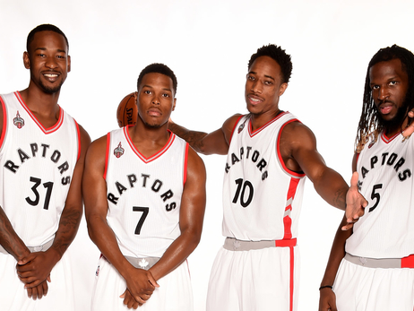 Terrence Ross, Kyle Lowry, DeMar DeRozan, DeMarre Carroll