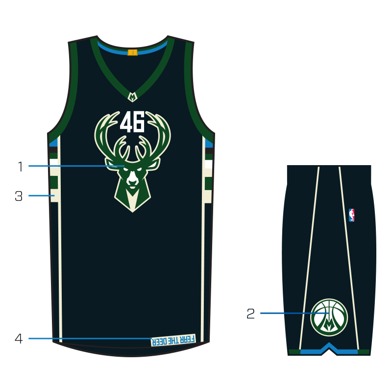 With the addition of a second court, the Bucks are now the first team in the NBA to feature an alternate court design to complement the alternate uniform. The Fear the Deer court shares the same design philosophy as the new uniforms, with the logos and color palette stripped down to keep the focus s…