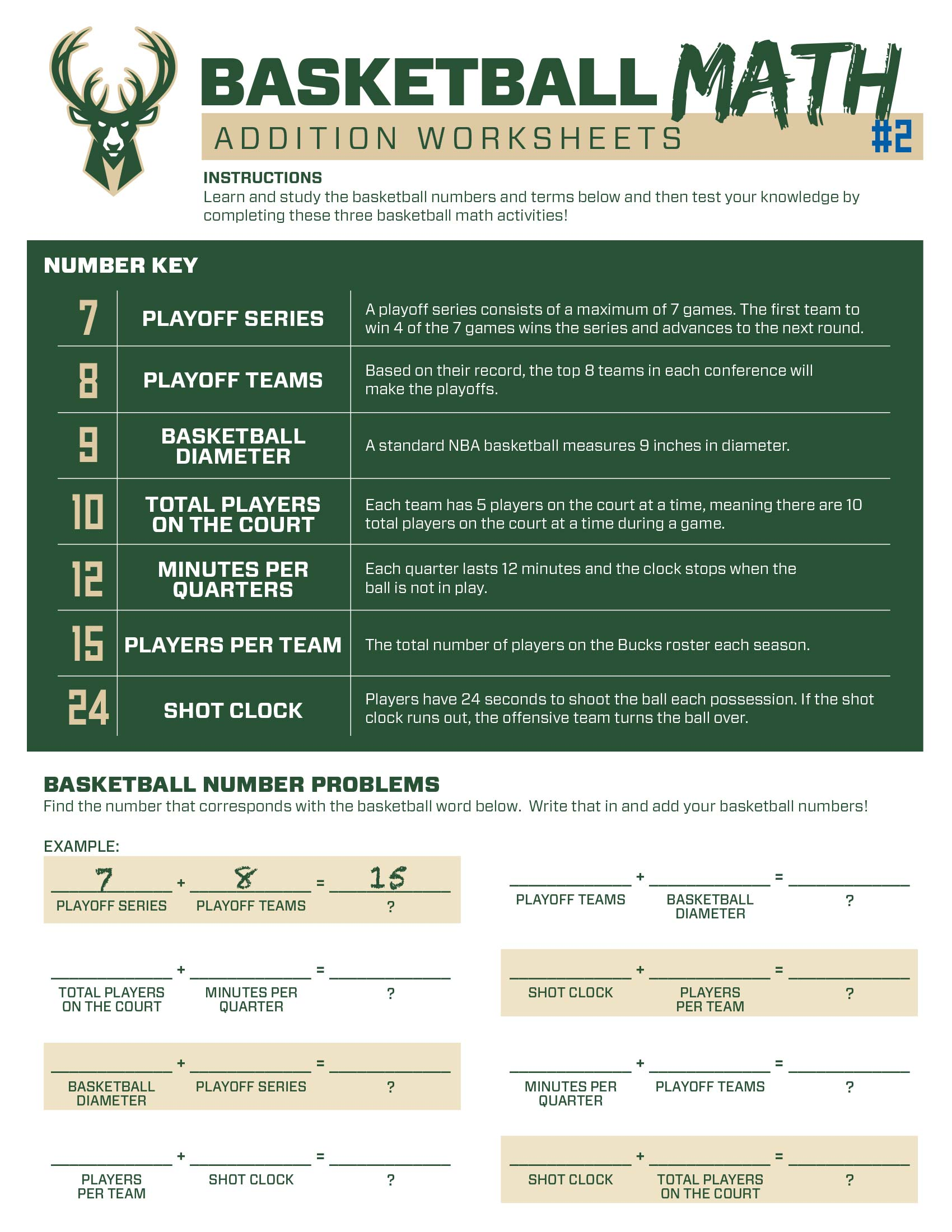 Bucks Kids Pages Basketballmath #2