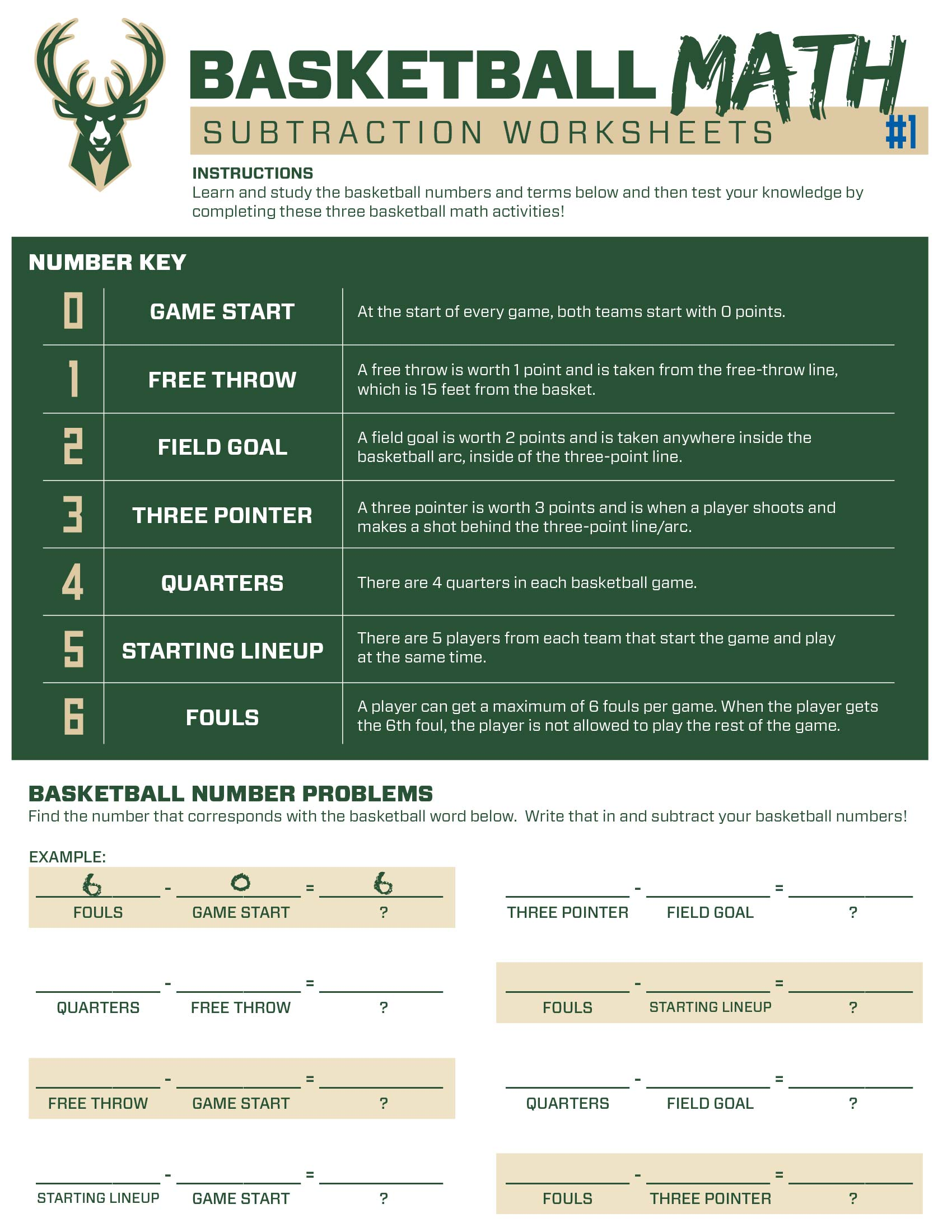 Bucks Kids Pages Basketball Subtraction #1