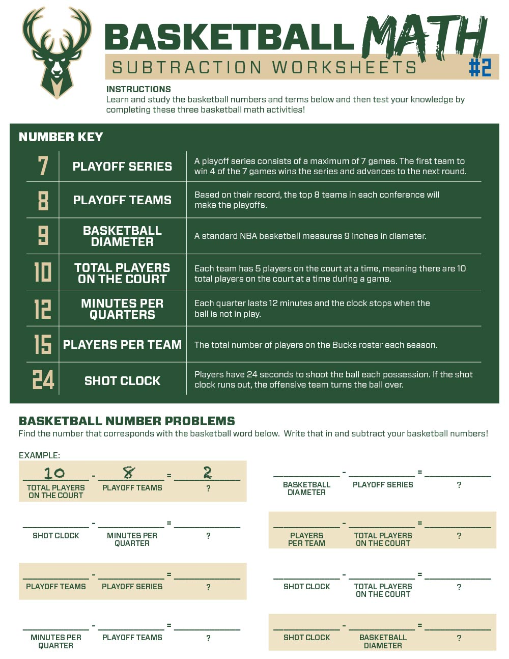 Bucks Kids Pages Basketball Subtraction #2