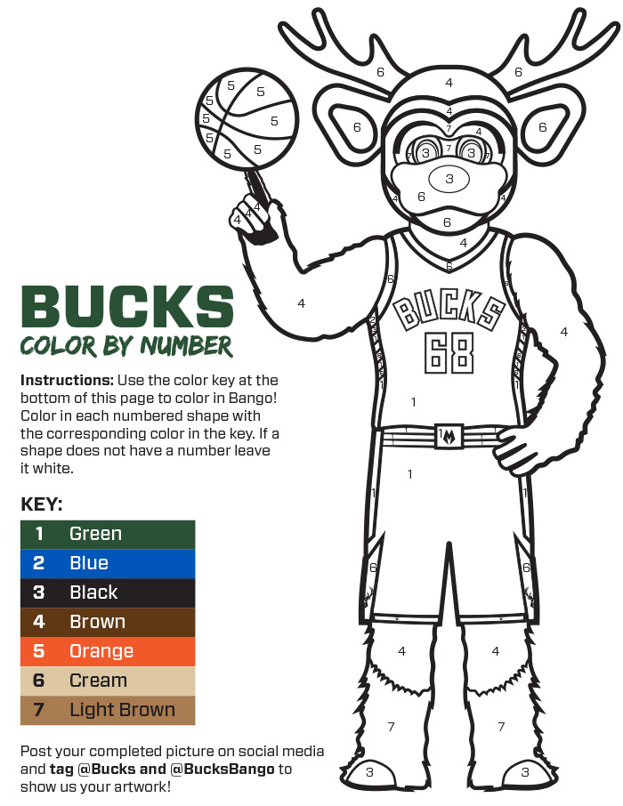 Bucks Kids Pages Color By Number