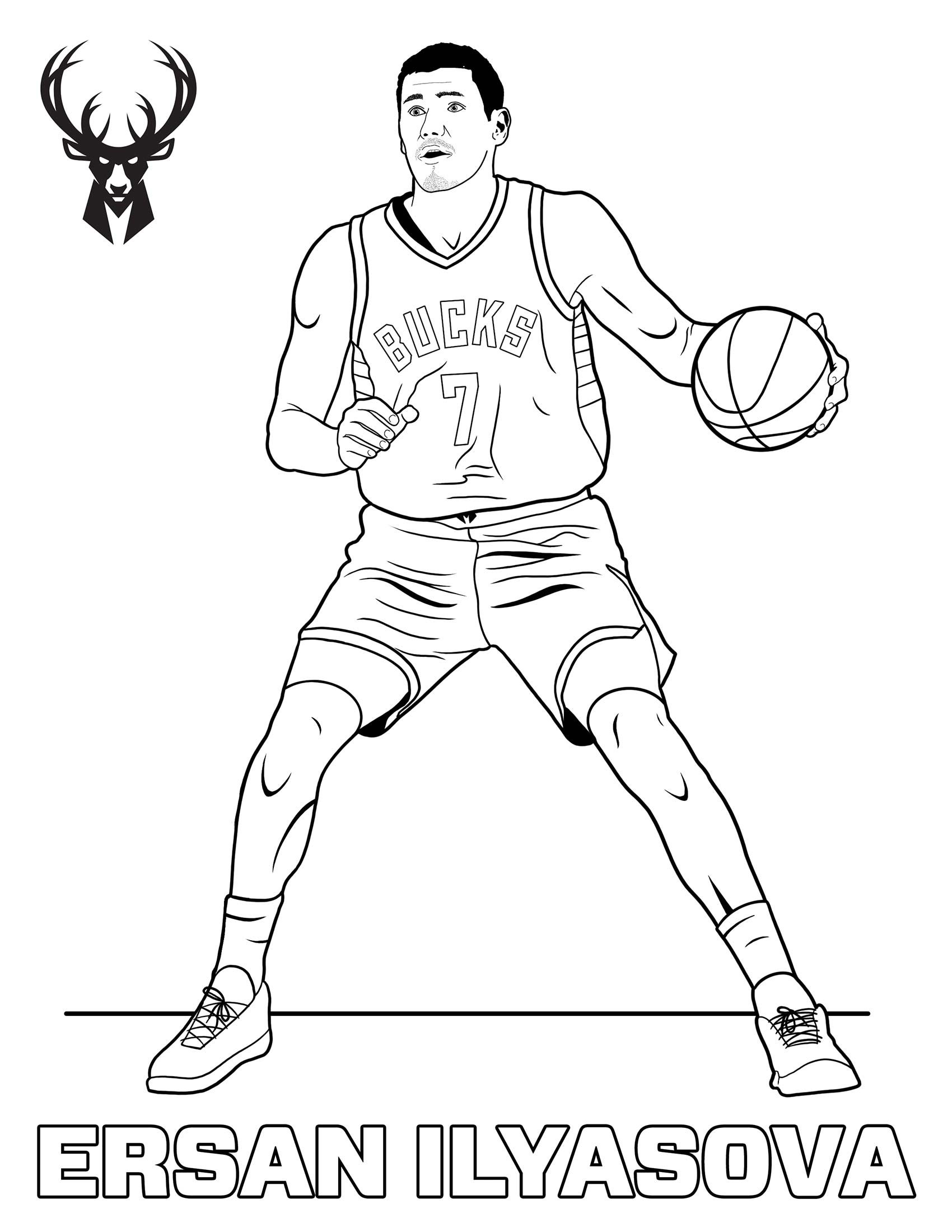Bucks Kids Pages Color Ersan Ilyasova